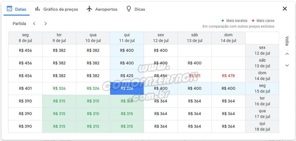 calendario busca voos black friday google flights