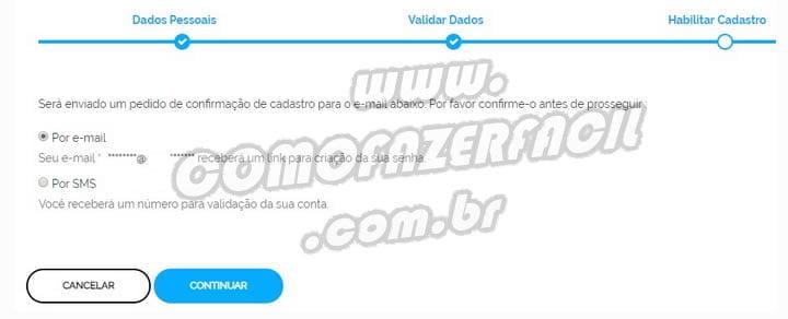 escolha email ou sms receber codigo ativacao cadastro acesso br login unico