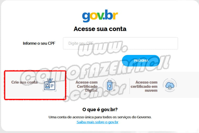 fazer um novo cadastro criar a conta acesso br gov