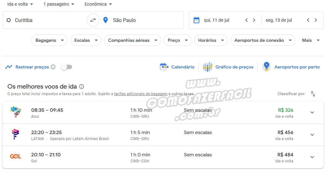 resultado busca passagens black friday no google flights