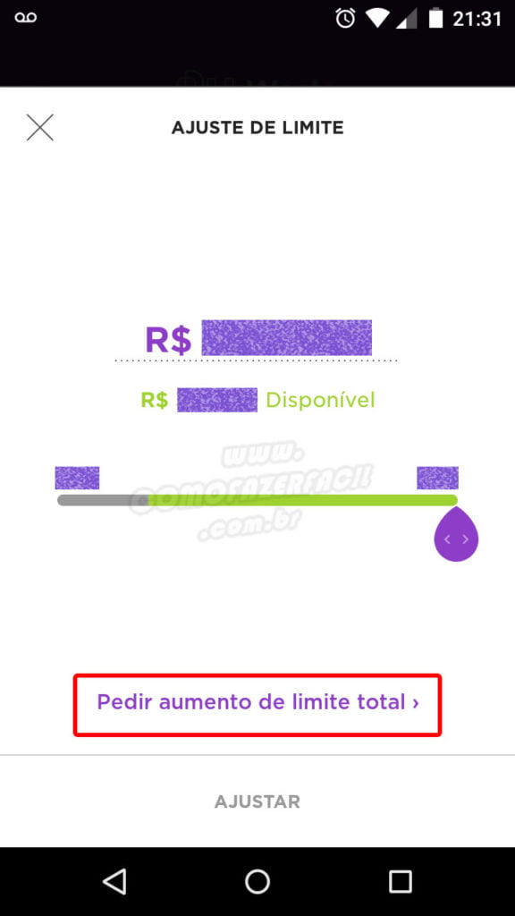 aumento de limite total do cartao credito nubank