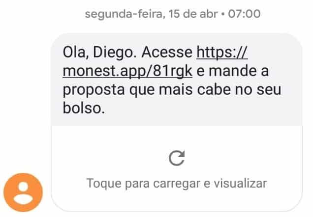"""exemplo de uma mensagem de cobrança por SMS, o texto é o seguinte: """"Ola, Diego. Acesse: link e mande a proposta que mais cabe no seu bolso"""""""