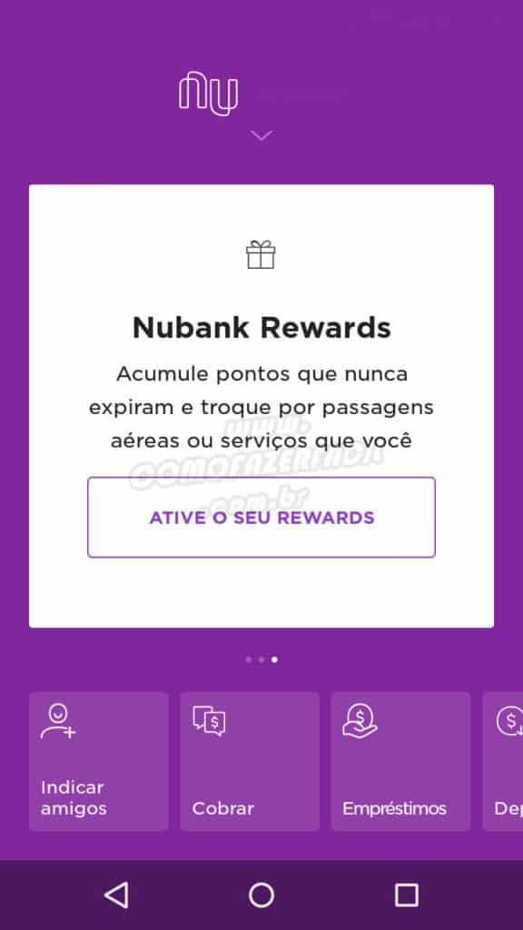 pagina inicial app nubank emprestimos