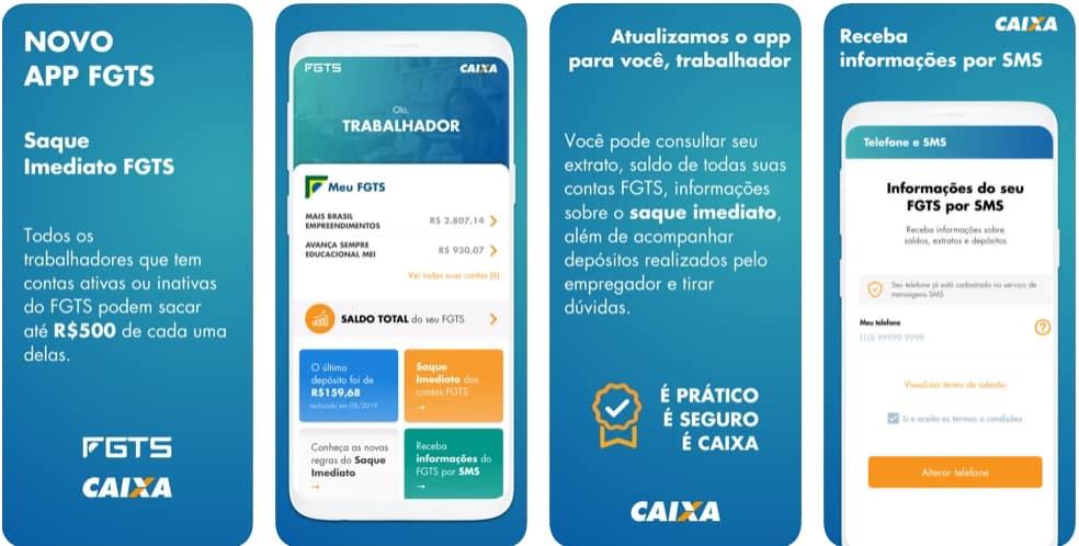 Imagem do aplicativo ios e android do FGTS. Nele é possível fazer a consulta do saque imediato, saque aniversário, extratos e tudo sobre o Fundo de Garantia por Tempo de Serviço.
