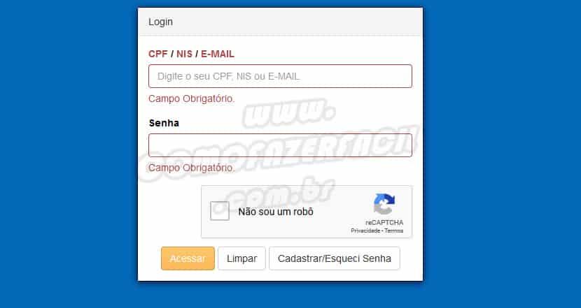 Imagem da página de acesso a consulta do extrato das contas do FGTS com CPF, NIS, EMAIL e senha pessoal.