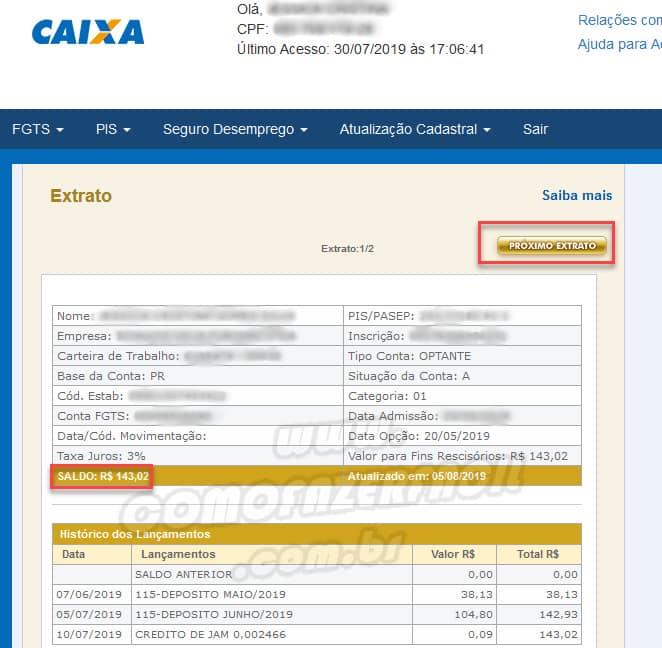 imagem de um extrato de conta ativa ou inativa do fundo de garantia por tempo de serviço com saldo e detalhes.