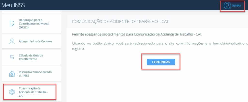 Fazendo a CAT, comunicação de acidente de trabalho pelo portal do Meu INSS.