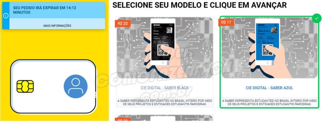 Modelos de carteirinhas estudantil digital no Brasil.