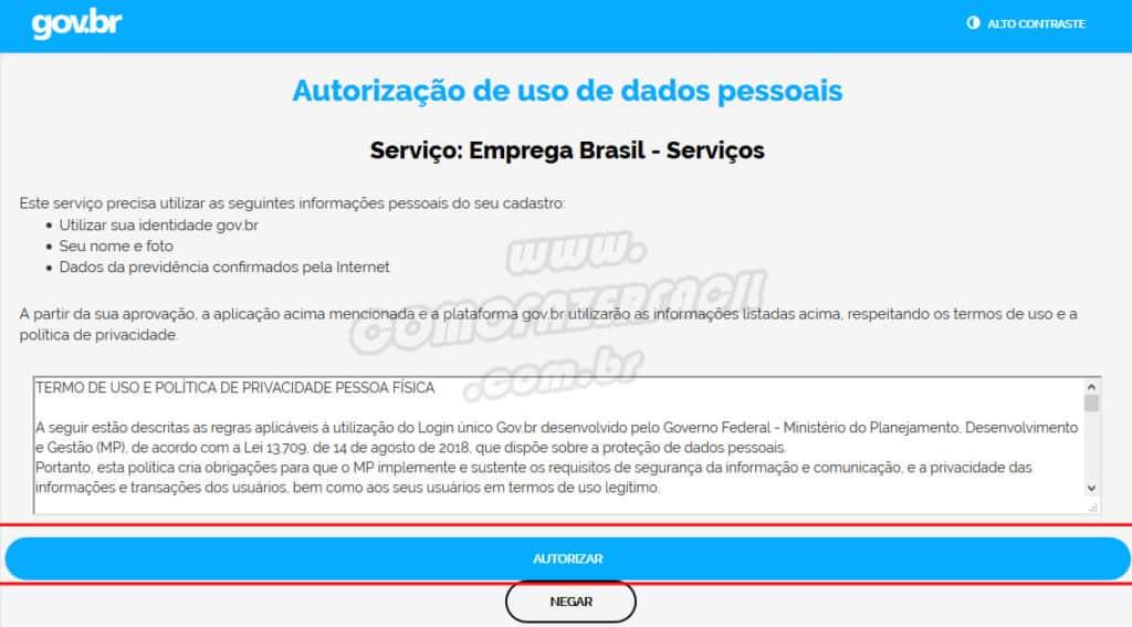 autorizacao de acesso emprega brasil