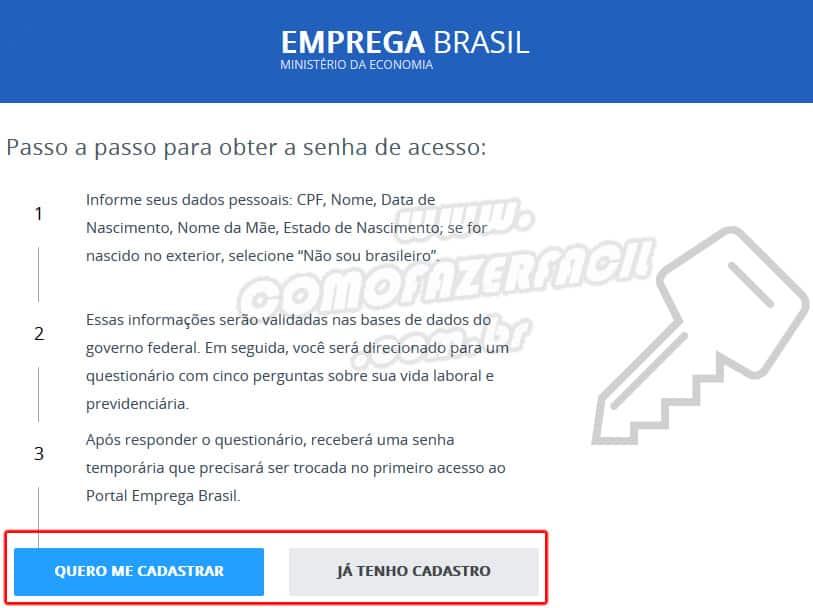 Login no site emprega Brasil para iniciar o cadastro ou habilitação da carteira de trabalho digital.