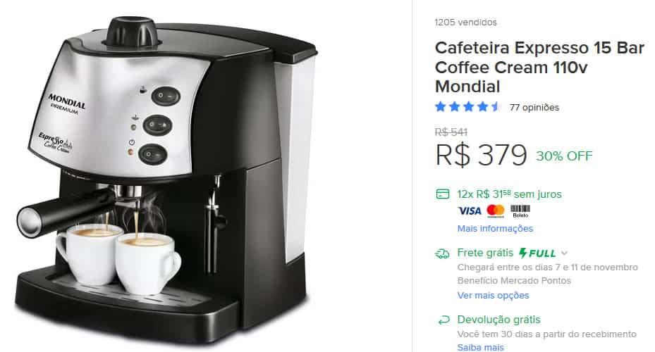 Cafeteiras e produtos Mondial em promoção na black friday do Mercado Livre.