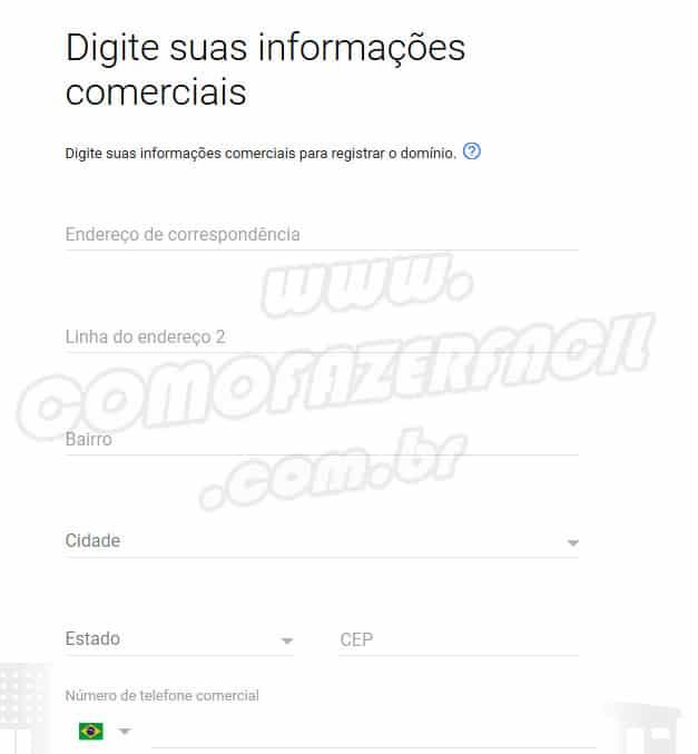 dados comerciais para fazer email profissional gsuite