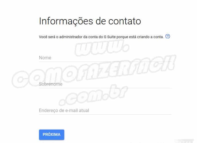 dados pessoais criando email profissional gsuite