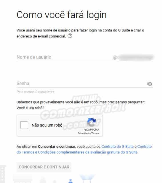 Finalizando o cadastro para ter email profissional, empresarial do gsuite google e gmail.