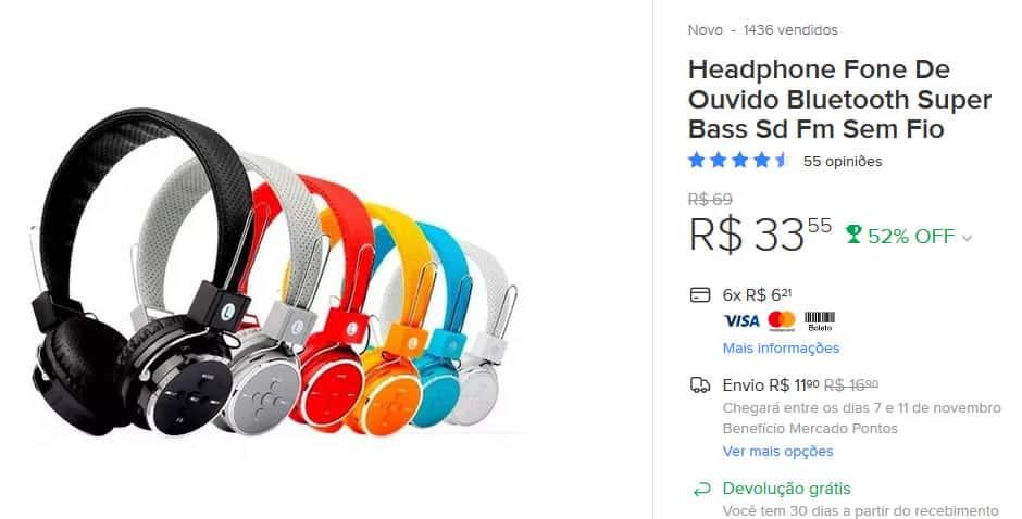 Headphone em promoção na black friday do mercado livre.