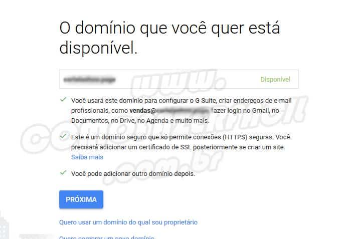 Insira seu domínio (URL) para poder se cadastrar no Gsuite Gmail.