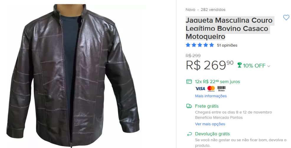 Jaqueta de couro promoção black friday mercado livre