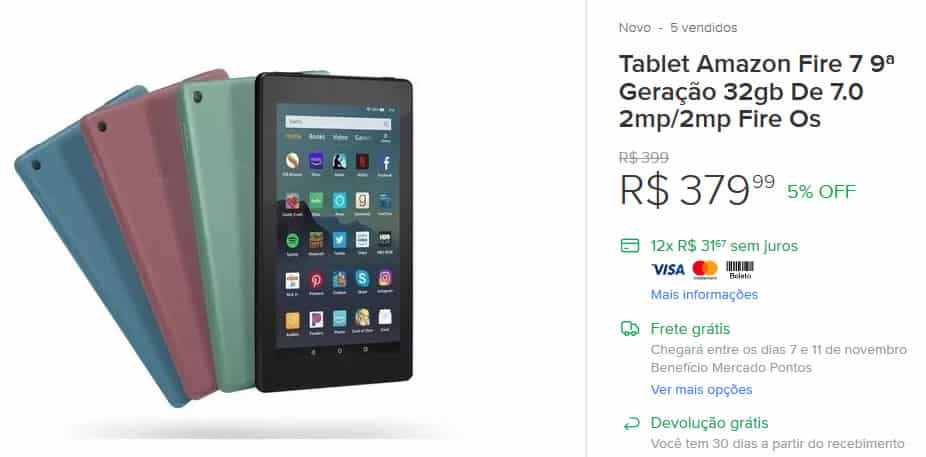 Tablets em promoção na black friday do mercado livre ML.
