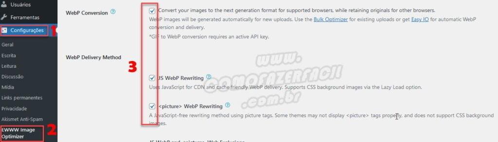 Como configurar o aplicativo que transforma imagens em formato WebP.