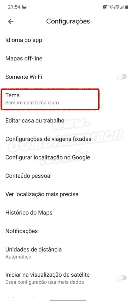 selecionando modo escuro no google maps