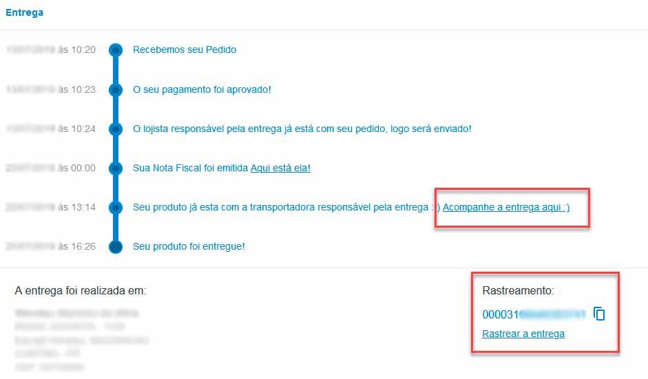 Acompanhar pedidos no painel do cliente do site magazine luiza