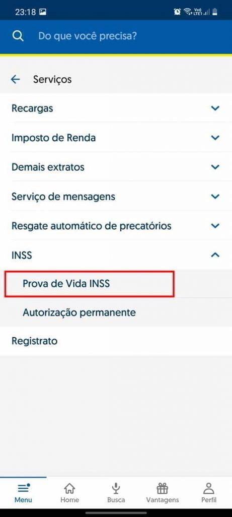 como realizar prova de vida no aplicativo do banco do brasil inss