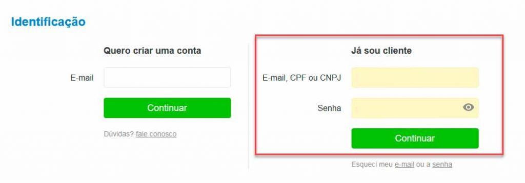 Inserindo dados de login no site do Magazine Luiza para rastrear pedidos.