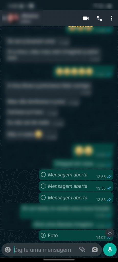 Todos os detalhes das fotos e videos no modo visualização única no WhatsApp.