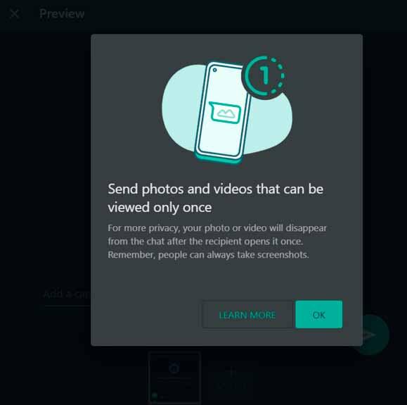 mandando fotos e videos que excluem automaticamente no whatsapp