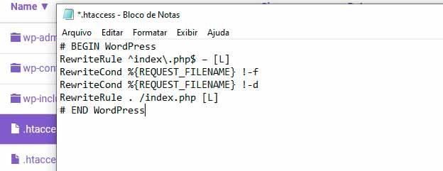 criando arquivo .htaccess manualmente para wordpress