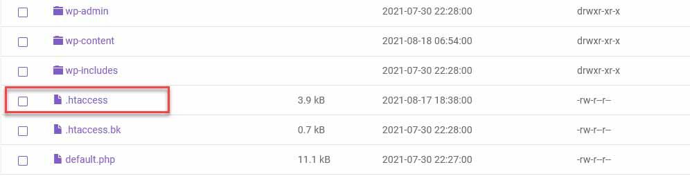 htaccess arquivo no servidor wordpress