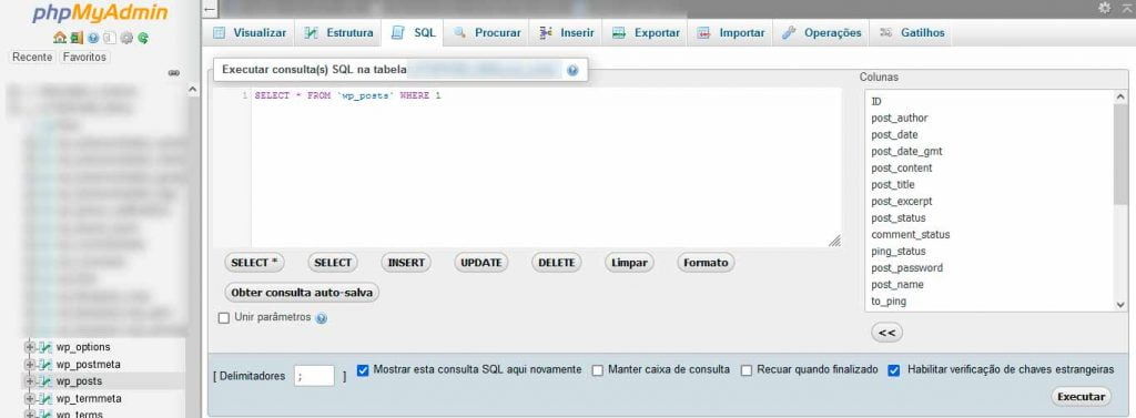 mudanças no wp posts do php admin banco de dados sql