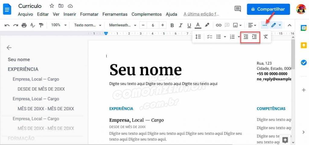 abrindo menu para ajustar recuo de paragrafo no google docs