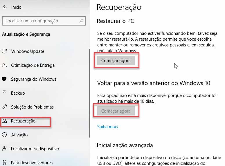 atualização ultima versão windows 10 problema de bios tela preta