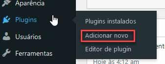 clicando em adicionar novo plugin no WP