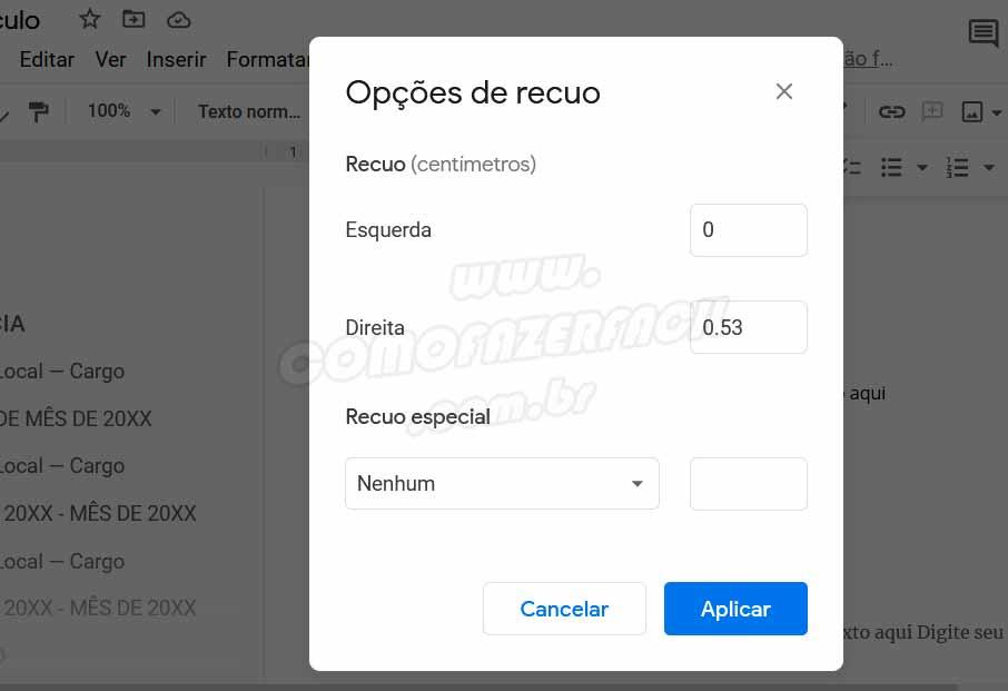 configurando opcoes de recuo atraves do menu formatar