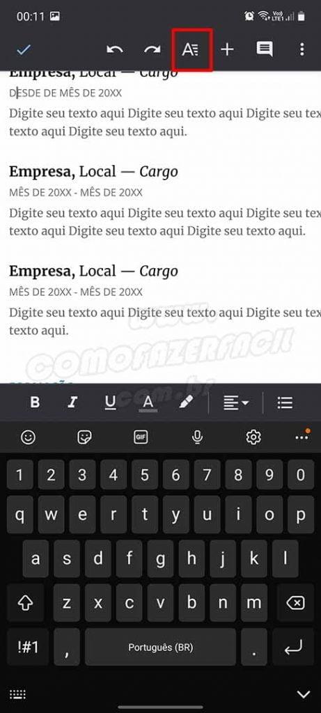 configurando recuo de paragrafo do google docs no aplicativo para celular