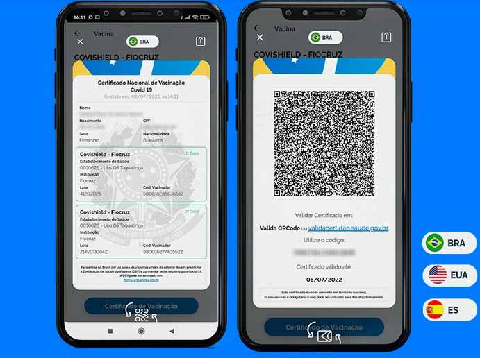 emitindo certificado de vacinação no aplicativo conecte sus