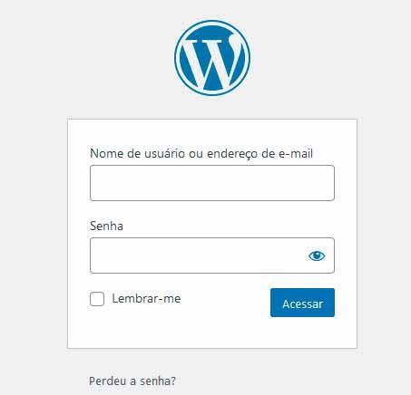 fazendo login no worpress para instalar plugins