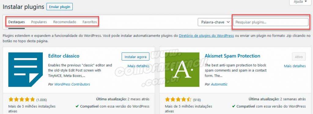pesquisando plugins para adicionar ao seu site wordpress