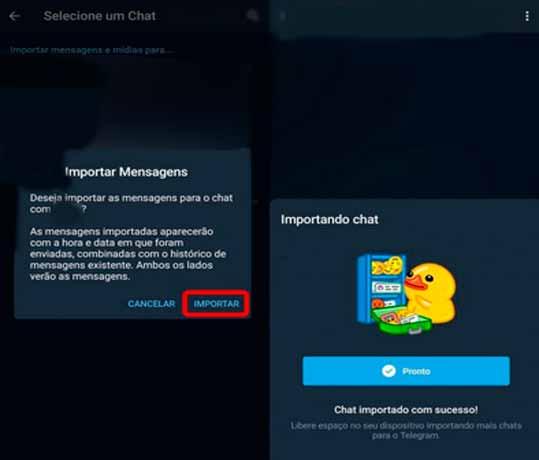 concluindo exportação de conversas de whatsapp no telegram