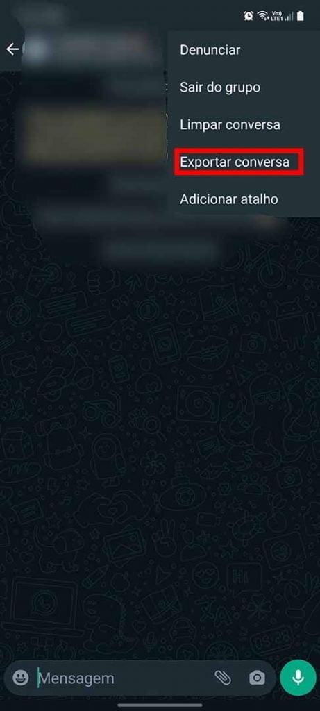 exportando conversa do whats para o telegram